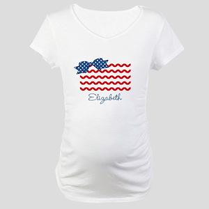 Girly Rick Rack Flag Maternity T-Shirt