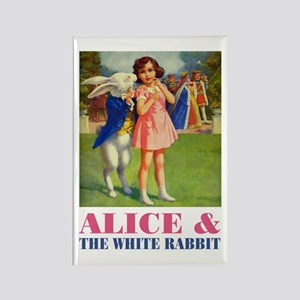 LICE & THE WHITE RABBIT Rectangle Magnet
