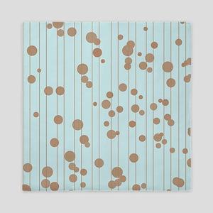 Brown and Blue Random Polka Dots Queen Duvet