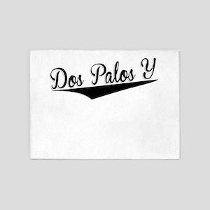 Dos Palos Y, Retro, 5'x7'Area Rug