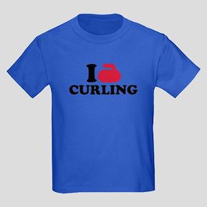 I love Curling Kids Dark T-Shirt
