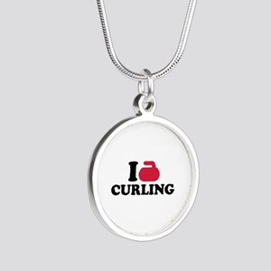 I love Curling Silver Round Necklace