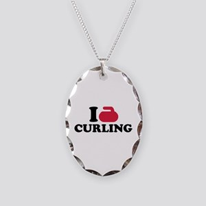 I love Curling Necklace Oval Charm