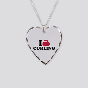 I love Curling Necklace Heart Charm
