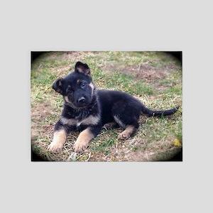 German Shepherd Pup 5'x7'Area Rug