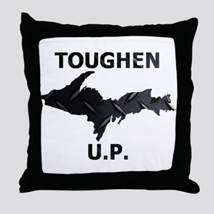 Toughen U.P. In Black Diamond Plate Throw Pillow