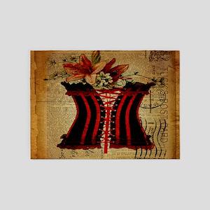 cute corset floral vintage paris art 5'x7'Area Rug