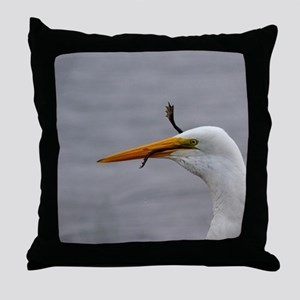 egret and frog Throw Pillow