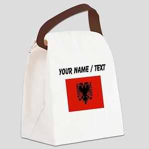 Custom Albania Flag Canvas Lunch Bag
