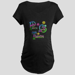 Peace Love Theatre Maternity Dark T-Shirt