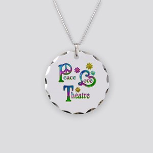 Peace Love Theatre Necklace Circle Charm