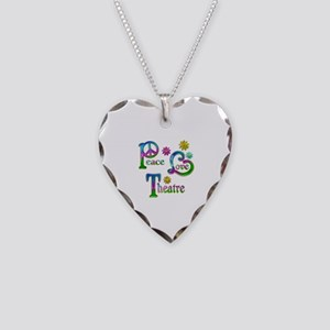 Peace Love Theatre Necklace Heart Charm