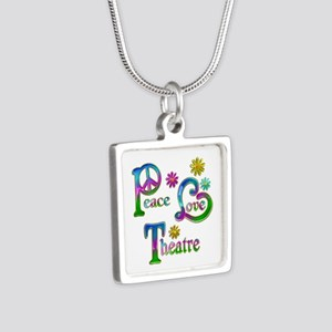 Peace Love Theatre Silver Square Necklace