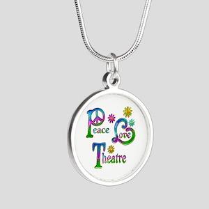 Peace Love Theatre Silver Round Necklace