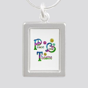 Peace Love Theatre Silver Portrait Necklace