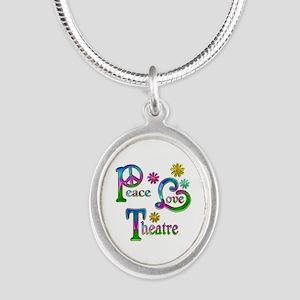 Peace Love Theatre Silver Oval Necklace