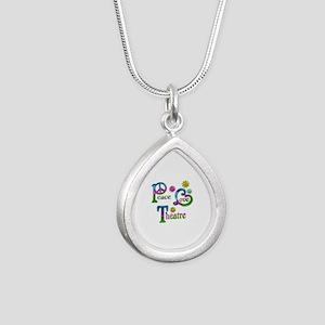 Peace Love Theatre Silver Teardrop Necklace