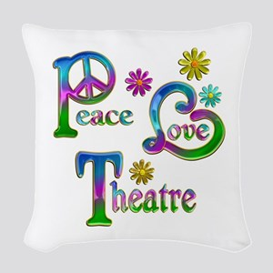 Peace Love Theatre Woven Throw Pillow