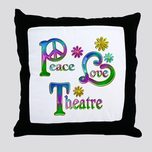 Peace Love Theatre Throw Pillow