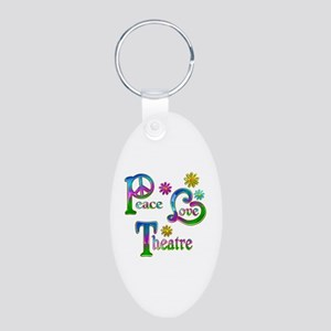 Peace Love Theatre Aluminum Oval Keychain