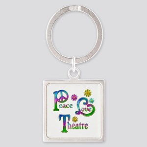Peace Love Theatre Square Keychain