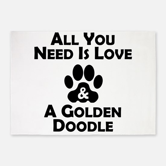 Love And A Goldendoodle 5'x7'Area Rug