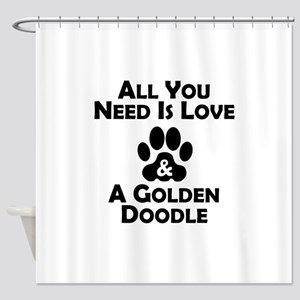 Love And A Goldendoodle Shower Curtain