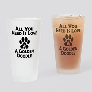 Love And A Goldendoodle Drinking Glass