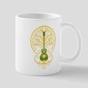 Green and Yellow Guitar Tree of Life Mugs