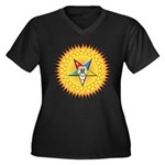 OES In the Sun Women's Plus Size V-Neck Dark T-Shi