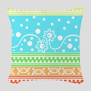 Aztec Flower Garden Tangle Woven Throw Pillow