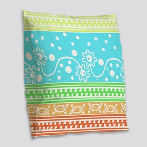 Aztec Flower Garden Tangle Burlap Throw Pillow