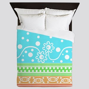 Aztec Flower Garden Tangle Queen Duvet