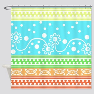 Aztec Flower Garden Tangle Shower Curtain