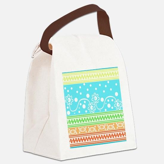 Aztec Flower Garden Tangle Canvas Lunch Bag