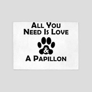 Love And A Papillon 5'x7'Area Rug