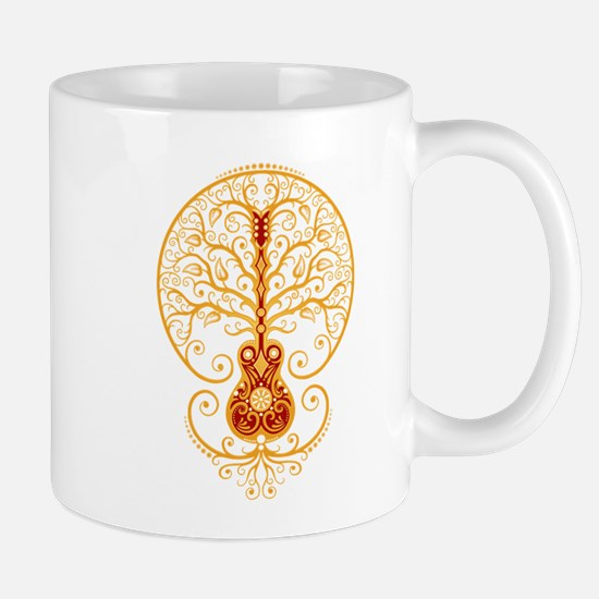 Red and Yellow Guitar Tree of Life Mugs