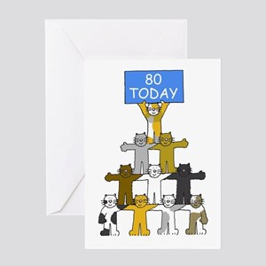 80th Birthday for cat lovers. Greeting Cards