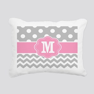 Gray Pink Dots Chevron Monogram Rectangular Canvas