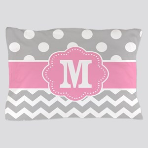 Gray Pink Dots Chevron Monogram Pillow Case