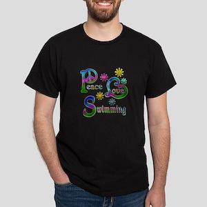 Peace Love Swimming Dark T-Shirt