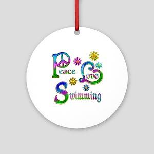 Peace Love Swimming Ornament (Round)