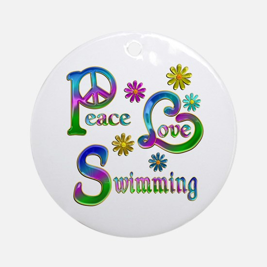 Peace Love Swimming Ornament (Round)