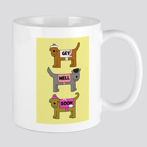 Dogs in coats, get well soon. Mugs
