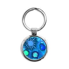 Blue Tile Round Keychain