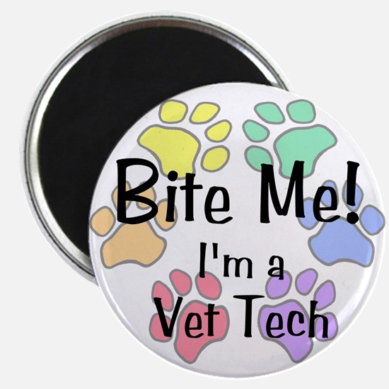 Bite Me I'm A Vet Tech Pawprints Magnet