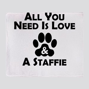 Love And A Staffie Throw Blanket