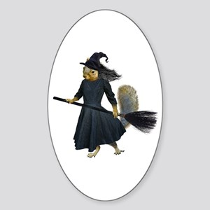 Squirrel Witch Sticker (Oval)