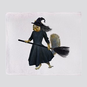 Squirrel Witch Throw Blanket