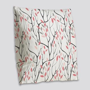 Red Leaves Burlap Throw Pillow